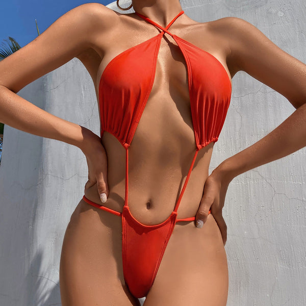 High Cut Open Back Halter Slide Triangle Thong One Piece Swimsuit
