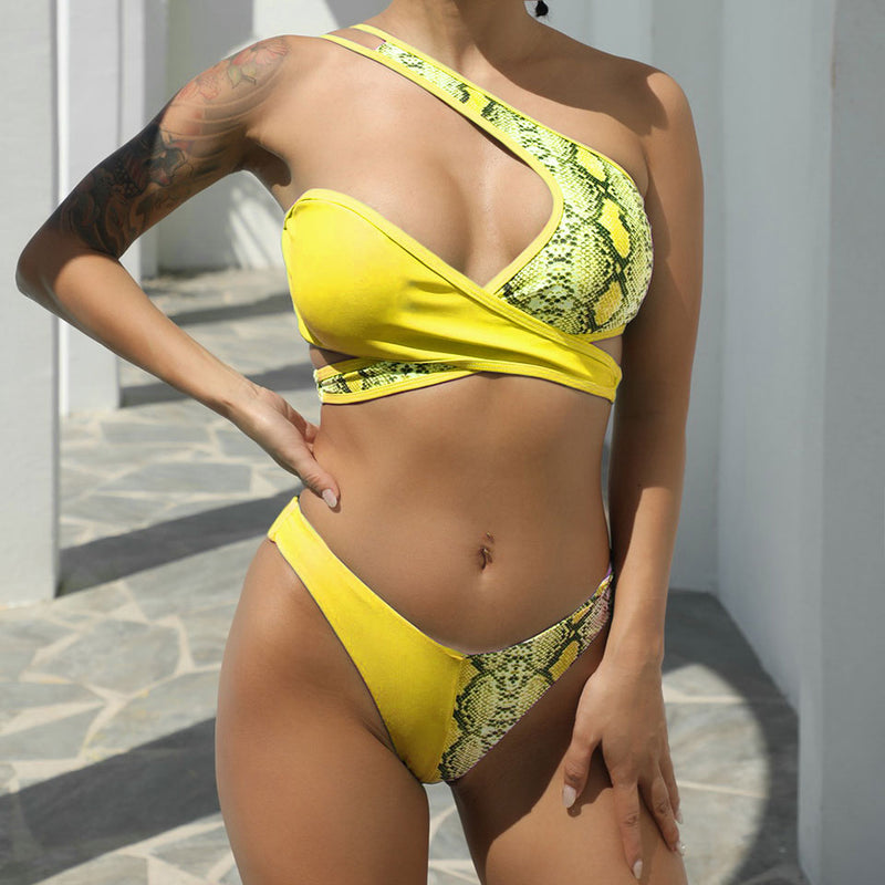 High Cut Snake Printed Cross Wrap Bikini Two Piece Swimsuit
