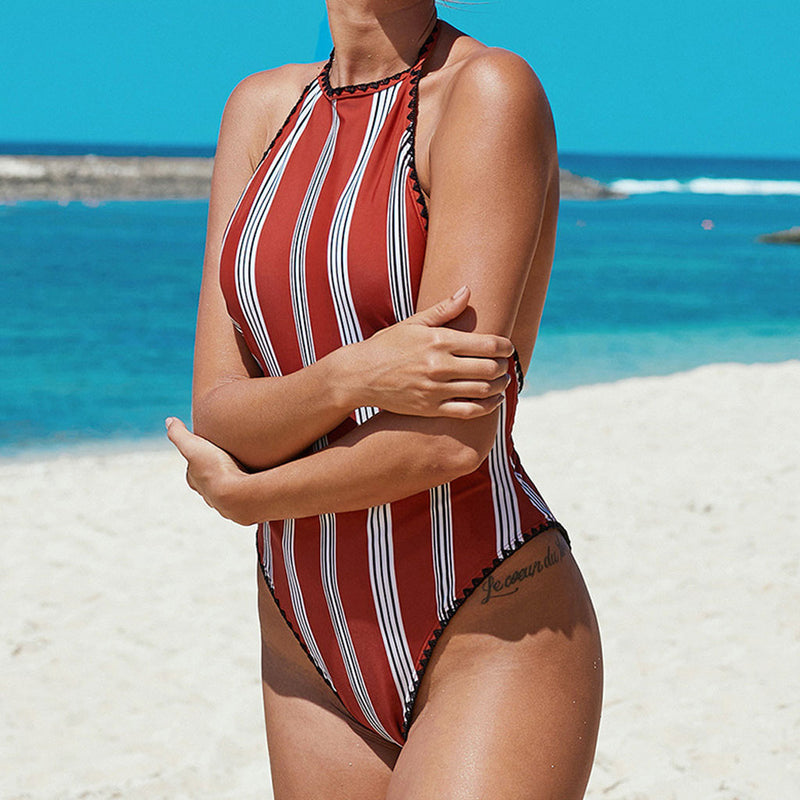 High Cut Striped Crochet Edge High Neck One Piece Swimsuit