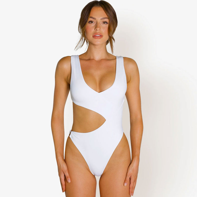 High Cut V Neck Cutout One Piece Swimsuit
