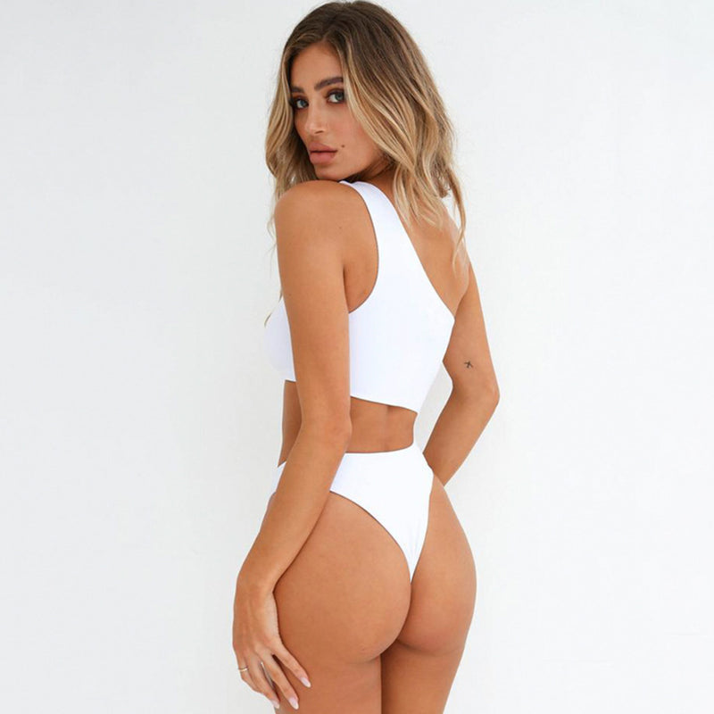 High Leg Cutout One Shoulder One Piece Swimsuit
