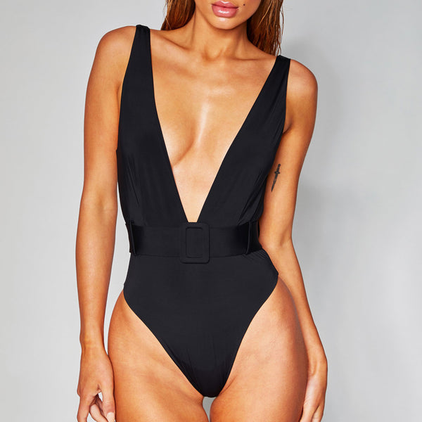 High Leg Deep V Buckle Belted One Piece Swimsuit