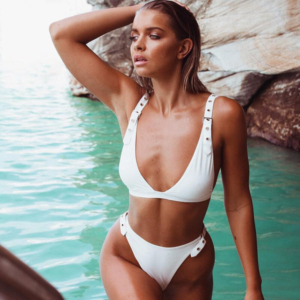 High Waist High Cut Buckle Straps Bikini Two Piece Swimsuit