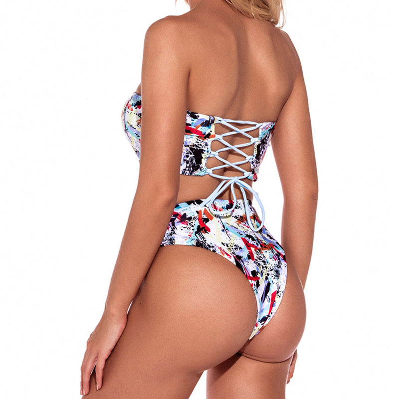 High Waist Printed Lace Up Back Bandeau Bikini Two Piece Swimsuit