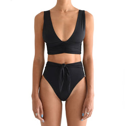 High Waist Ruched Banded Deep V Bikini Two Piece Swimsuit