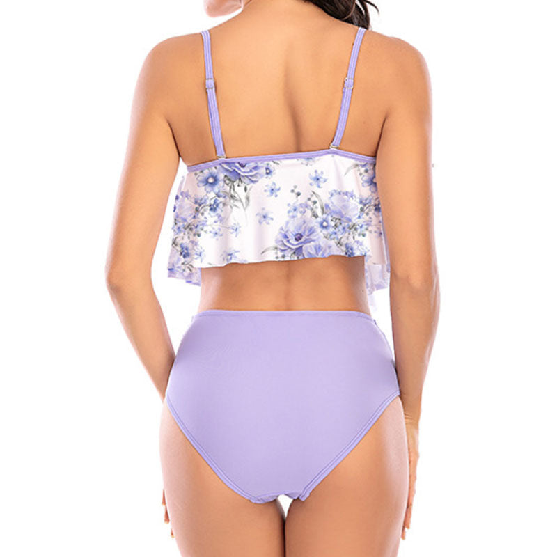 High Waist Ruffle Floral Printed Cutout Tankini Two Piece Swimsuit