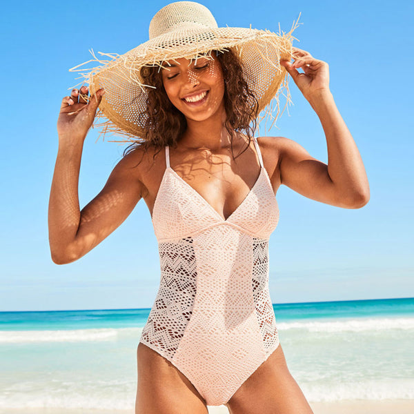 Hollowout Mesh V Neck One Piece Swimsuit