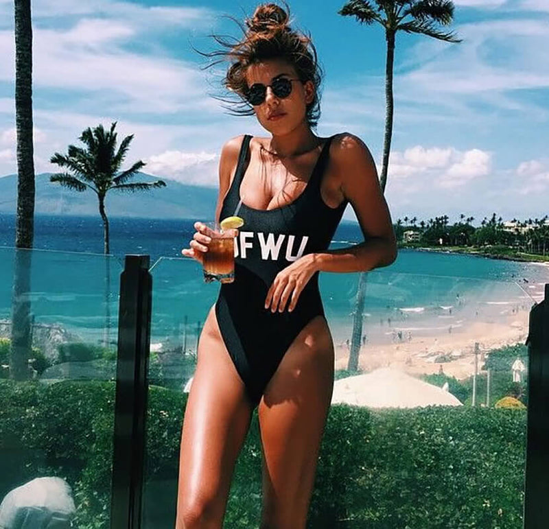 IDFWU Slogan Printed High Cut Low Back One Piece Swimsuit