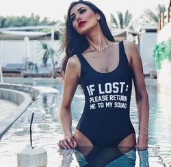 IF LOST Slogan Printed High Cut Low Back One Piece Swimsuit