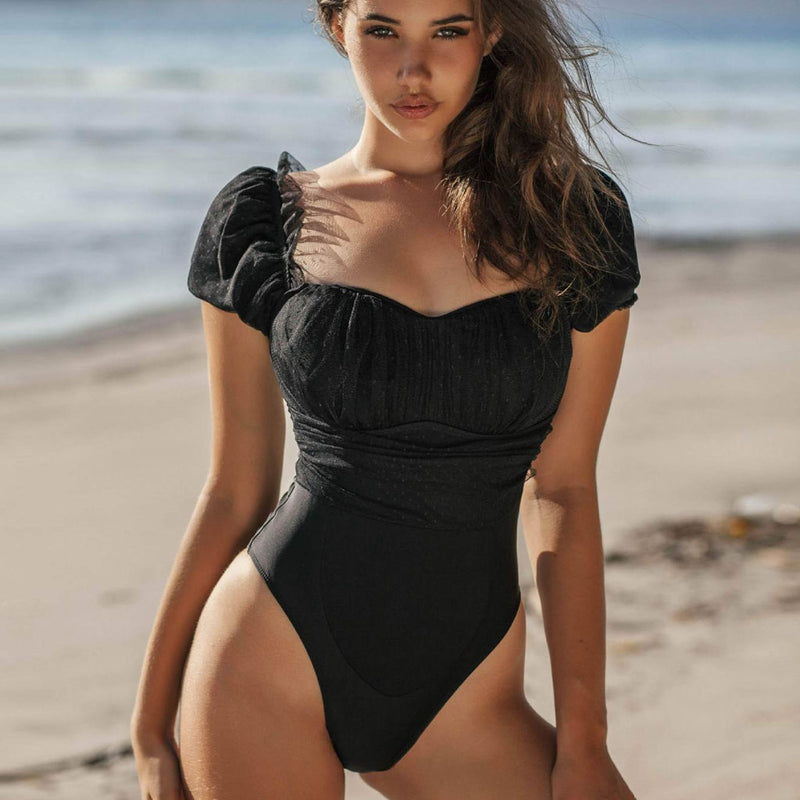 Lace Panel Sleeved Off Shoulder One Piece Swimsuit