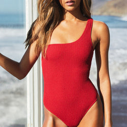 Lace Up Back One Shoulder Textured One Piece Swimsuit