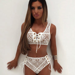 Lace Up High Waist Lacework Bikini Two Piece Swimsuit