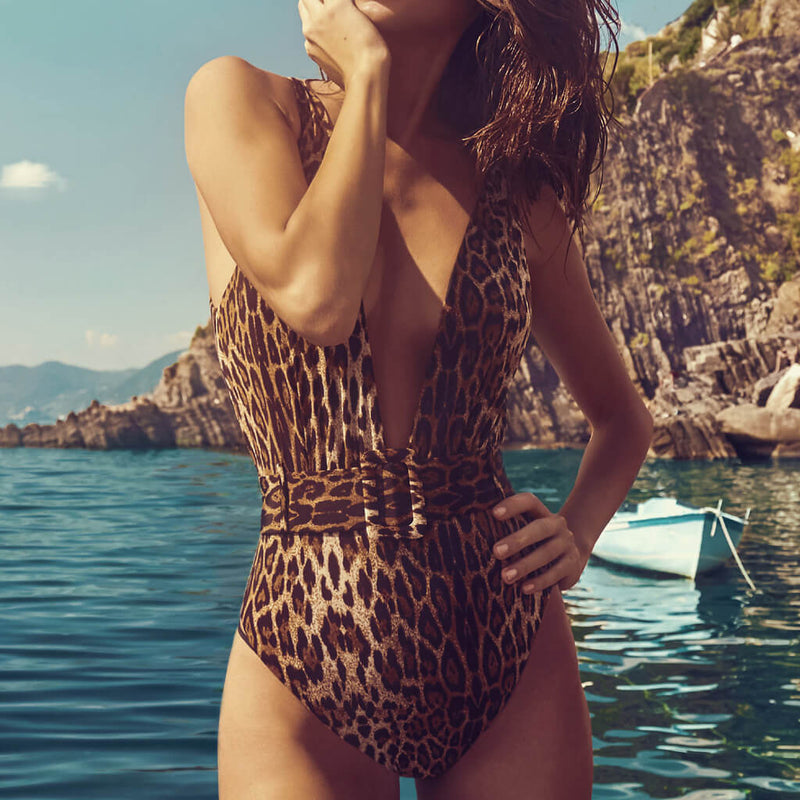 Leopard High Leg Buckle Belted Deep V One Piece Swimsuit