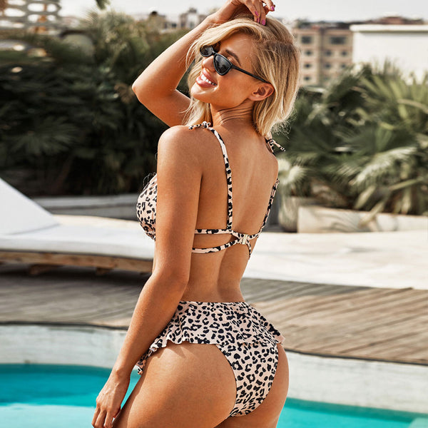 Leopard Peplum High Waist Slide Triangle Bikini Two Piece Swimsuit
