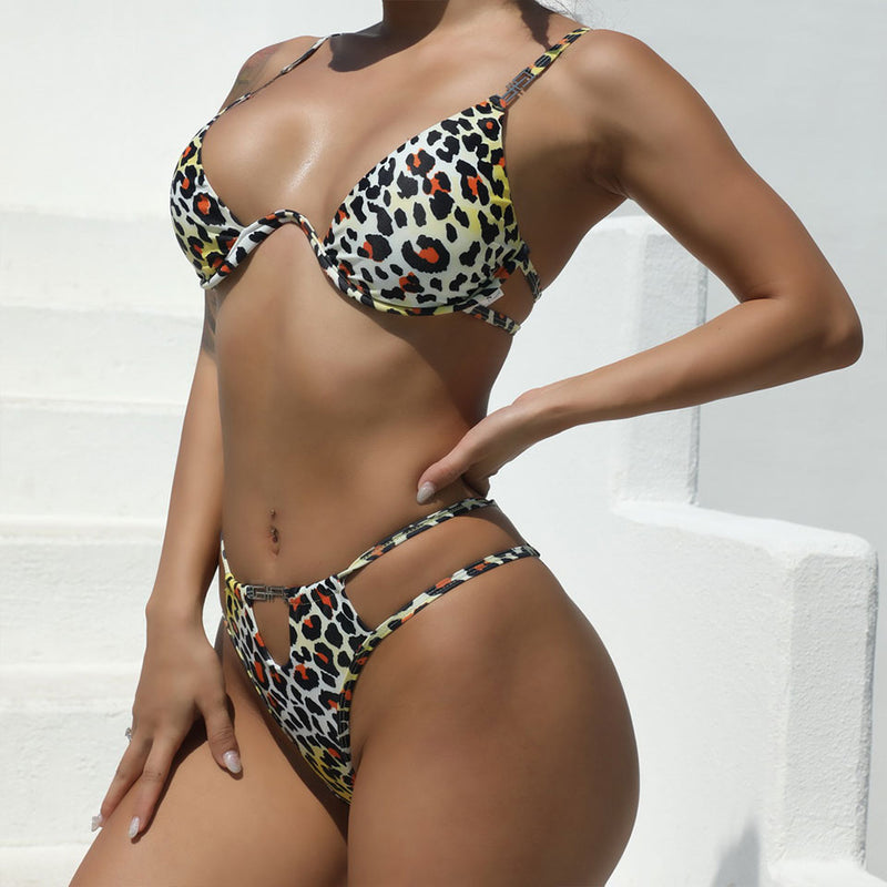 Leopard Printed Cutout Underwire String Bikini Two Piece Swimsuit