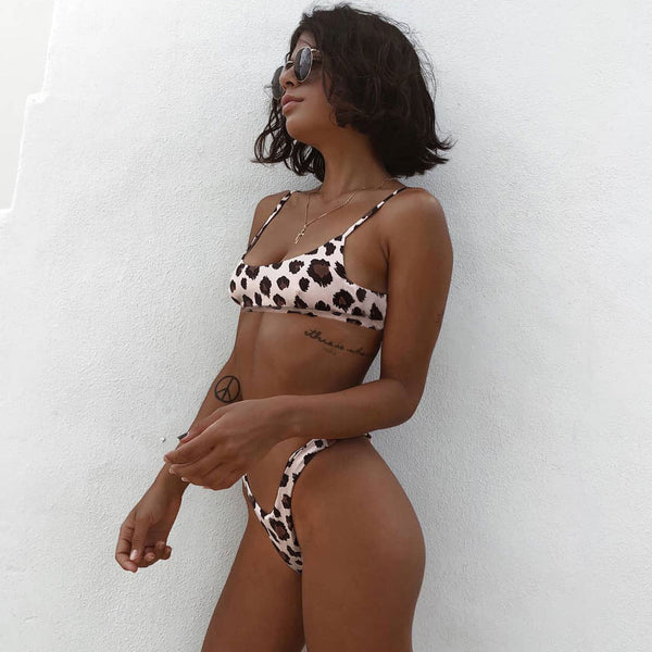 Leopard Printed High Cut Bikini Two Piece Swimsuit