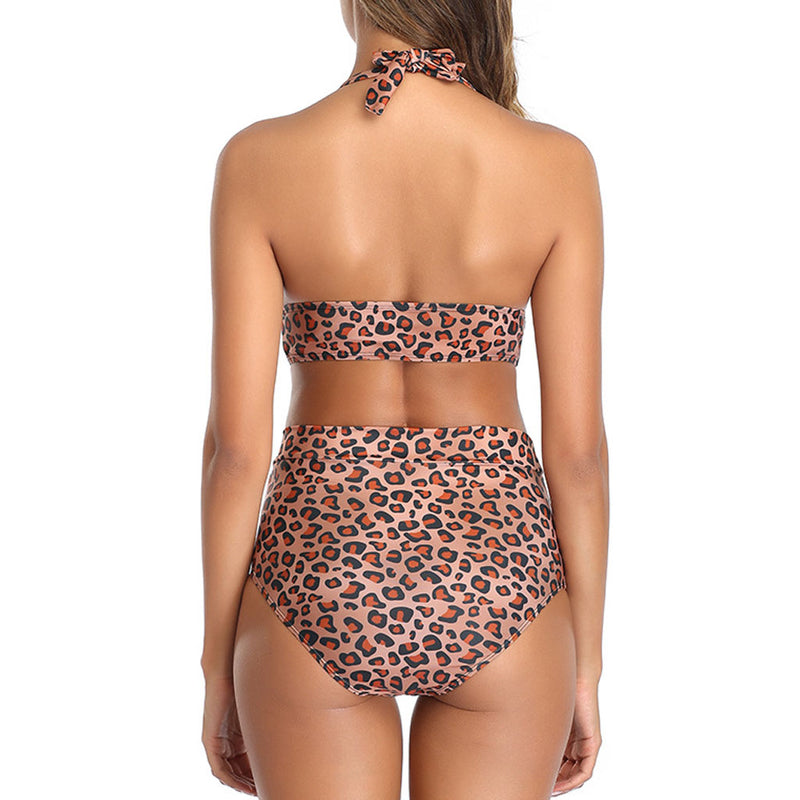 Leopard Printed High Waist Halter Bikini Two Piece Swimsuit