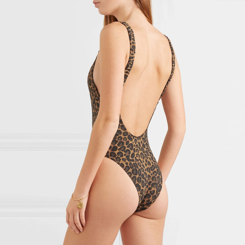 Leopard Printed Low Back One Piece Swimsuit