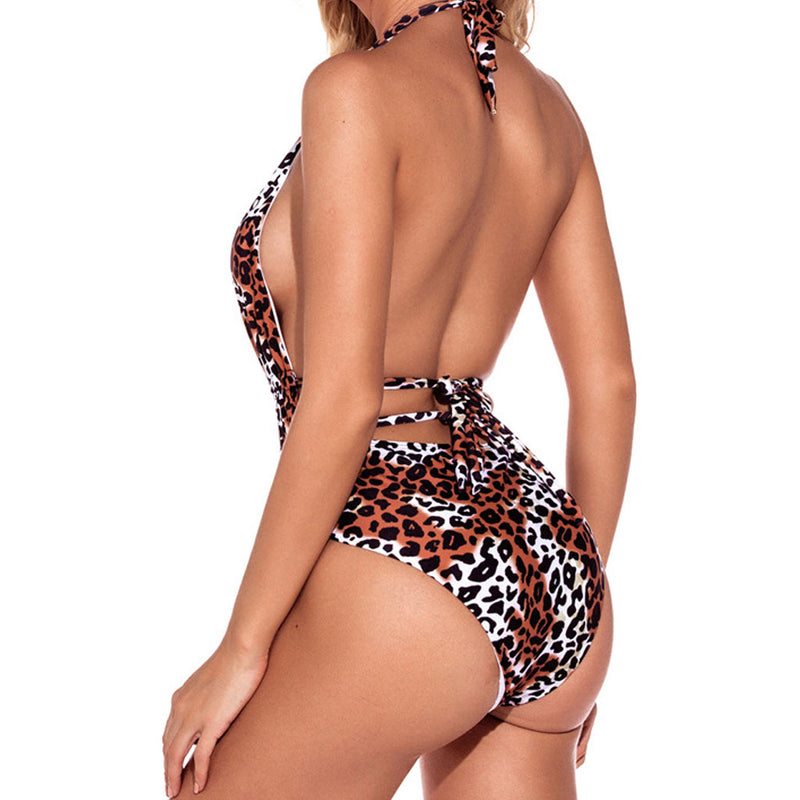 Leopard Printed Open Back Deep V Halter One Piece Swimsuit