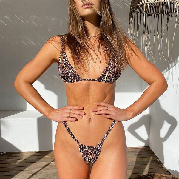 Leopard Printed Slide Triangle Bikini Three Piece Swimsuit