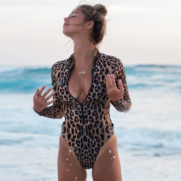 Leopard Strappy High Cut Long Sleeve Rash Guard One Piece Swimsuit
