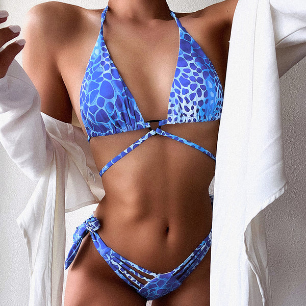 Leopard Strappy Slide Triangle Bikini Two Piece Swimsuit