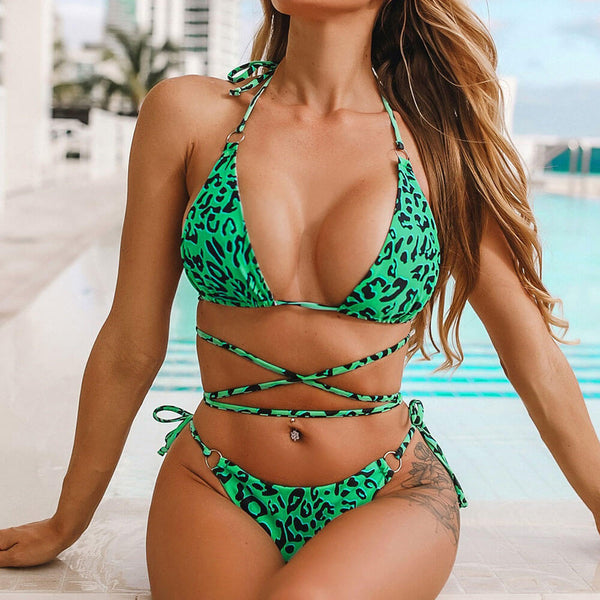 Leopard Tie Strappy Sliding Triangle Bikini Two Piece Swimsuit