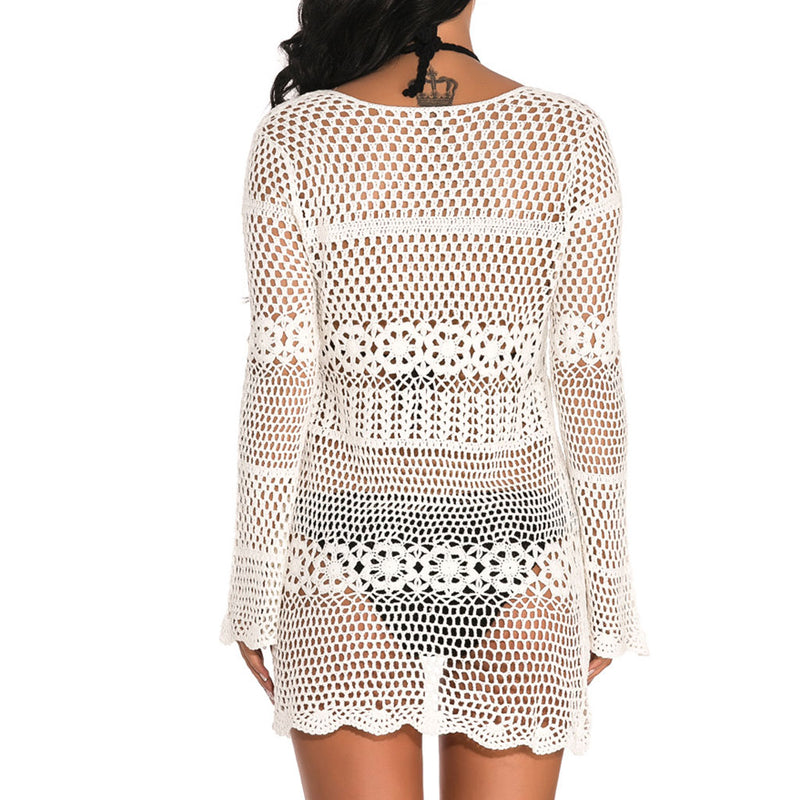 Long Sleeve Open Front Crocheting Cover Up