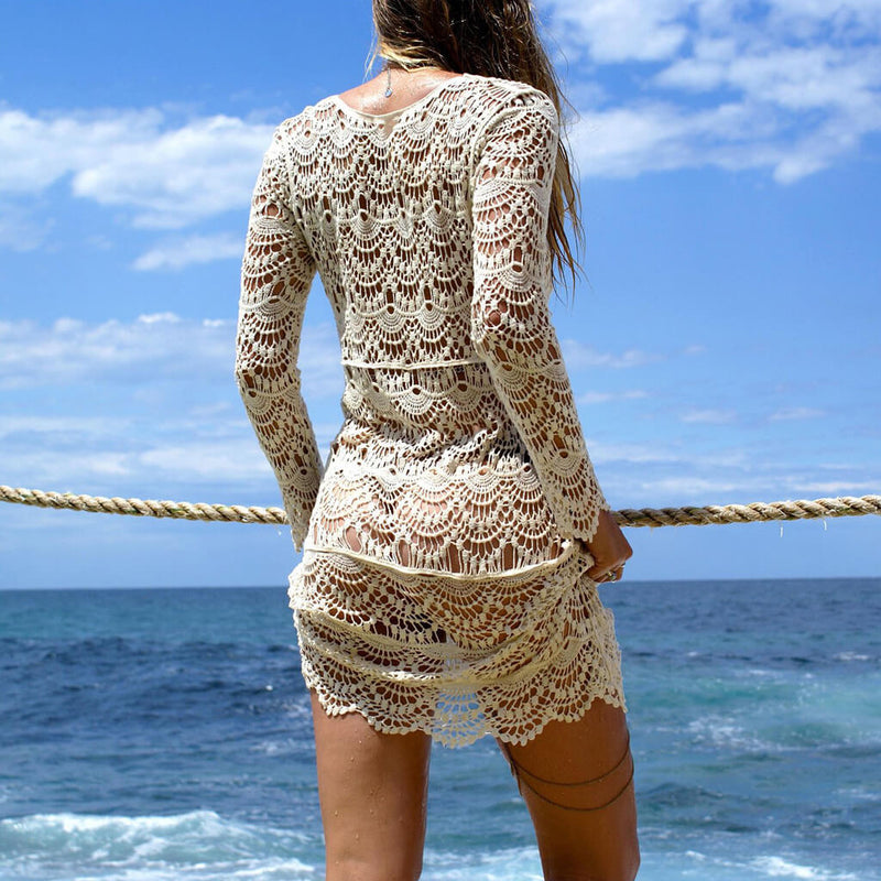 Long Sleeve Open Knit Crocheting Beach Coverup Dress