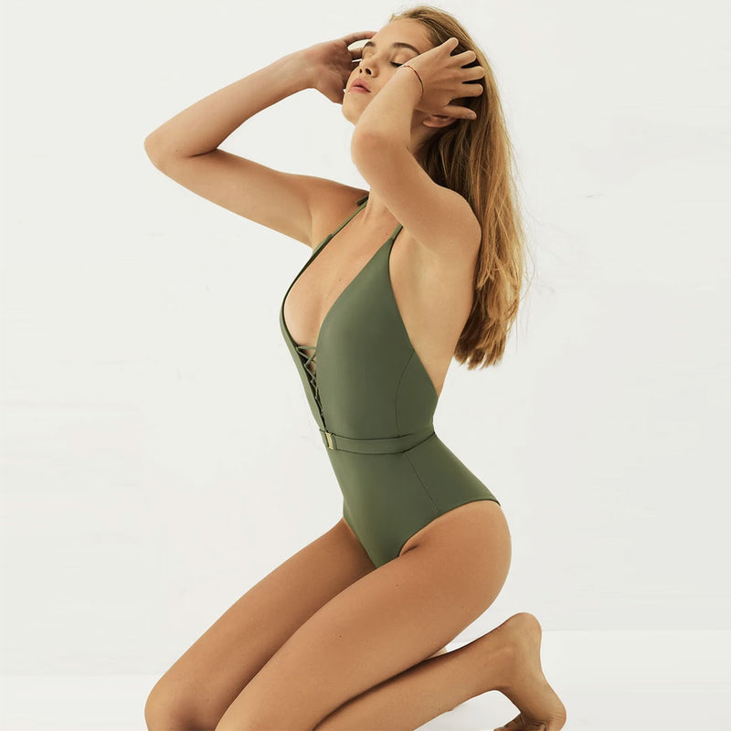 Low Back Cross Strappy Front Halter One Piece Swimsuit