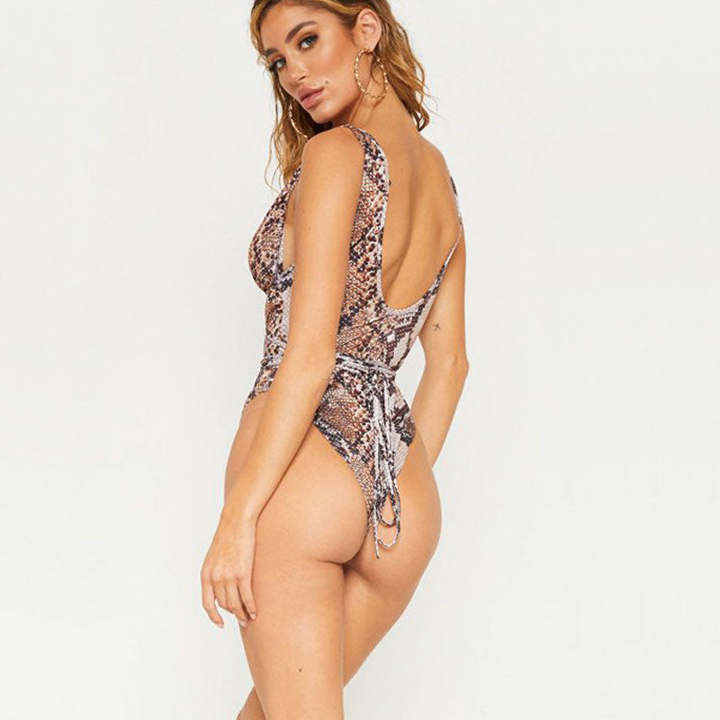 Low Back High Cut Cross Strappy Cutout One Piece Swimsuit