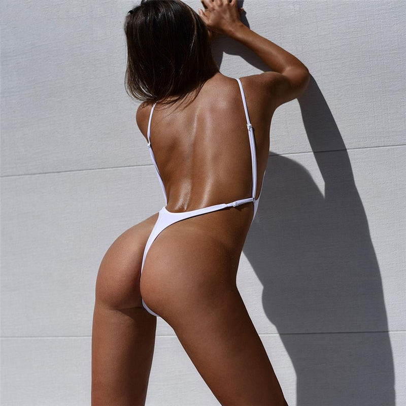 Low Back High Cut Thong Fit One Piece Swimsuit