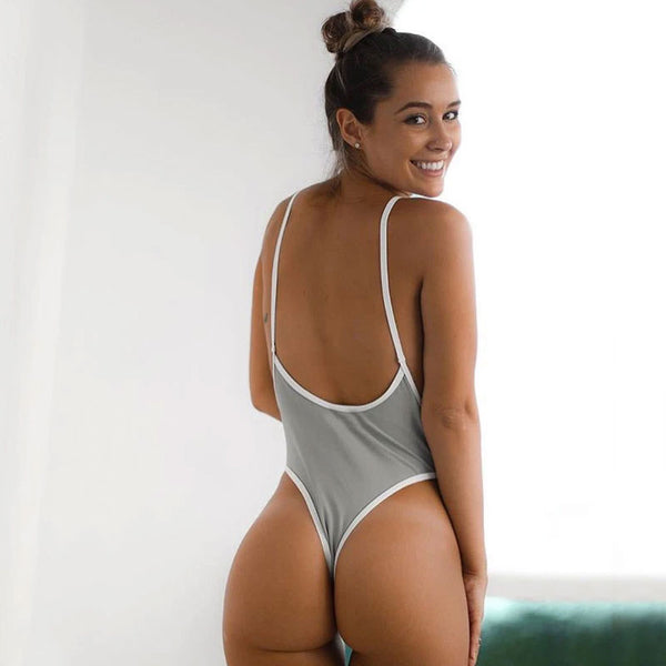 Low Back High Cut Thong Plunging V One Piece Swimsuit