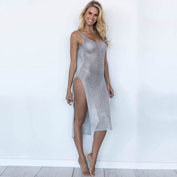 Mesh Low Back High Split Coverup Dress