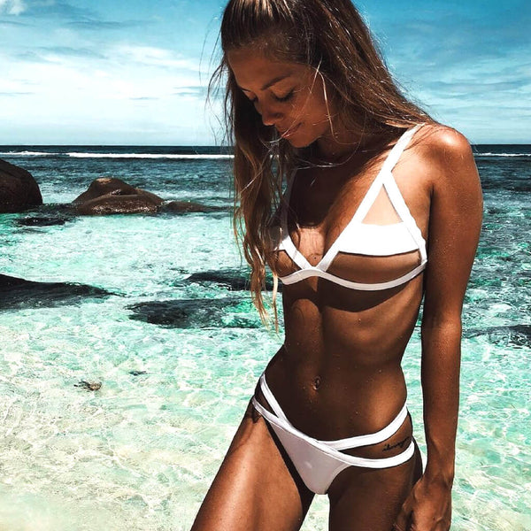 Mesh Panel Triangle Bikini Two Piece Swimsuit