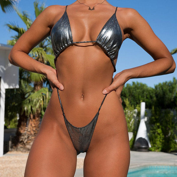 Metallic Cross Strappy Thong Monokini One Piece Swimsuit