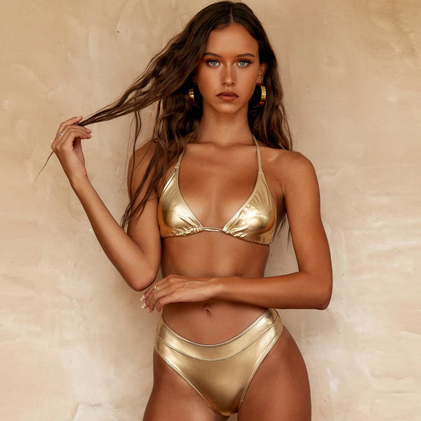 Metallic Halter Sliding Triangle Bikini Two Piece Swimsuit