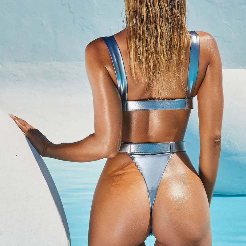 Metallic High Cut Buckle Belt Thong One Piece Swimsuit