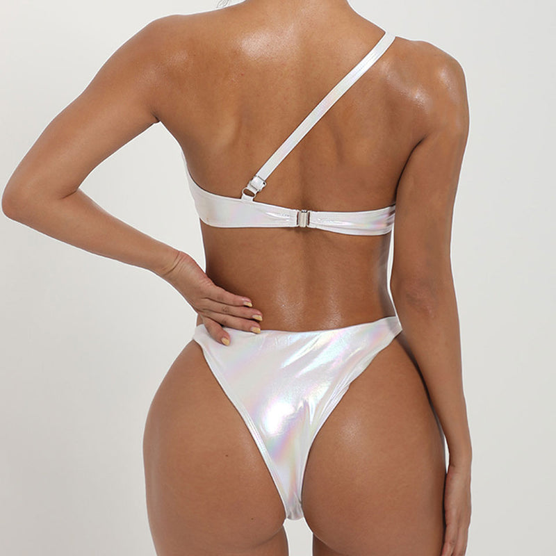 Metallic High Cut Cutout One Shoulder Bikini Two Piece Swimsuit