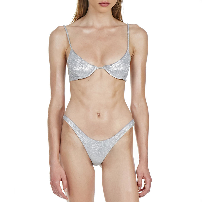 Metallic High Cut Underwire Micro Bikini Two Piece Swimsuit