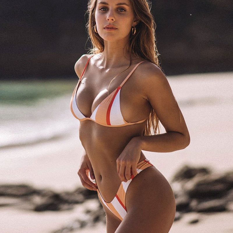 Multicolor Striped Triangle Bikini Two Piece Swimsuit