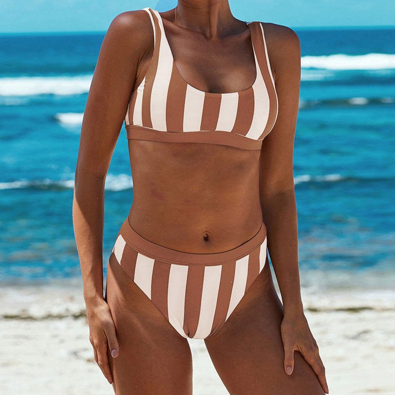Nautical High Waist High Cut Striped Bikini Two Piece Swimsuit