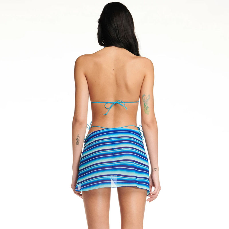 Nautical Striped Sliding Triangle Bikini Three Piece Swimsuit