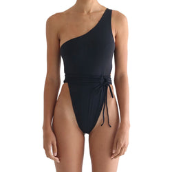 One Shoulder Open Back High Cut Thong One Piece Swimsuit