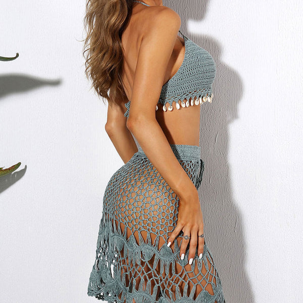 Openwork High Waist Shell Fringe Crochet Two Piece Cover Up Set