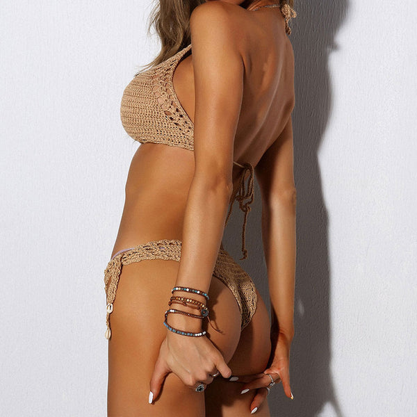 Openwork Tie String Crochet High Neck Bikini Two Piece Swimsuit