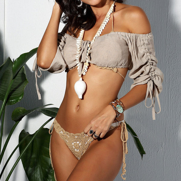 Openwork Tie String Crochet Triangle Three Piece Cover Up Set