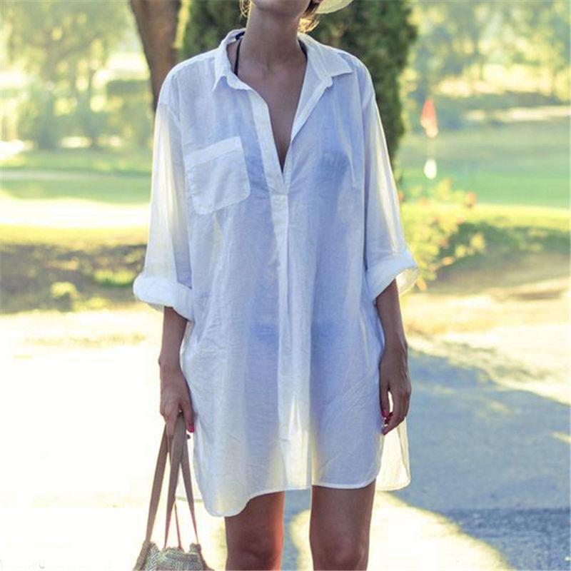 Oversized Long Sleeve Coverup Shirtdress