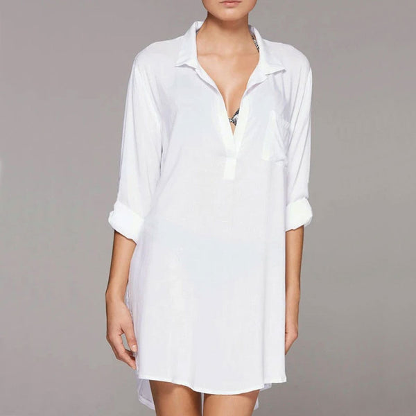 Oversized Pocket Front Long Sleeve Blouse Coverup