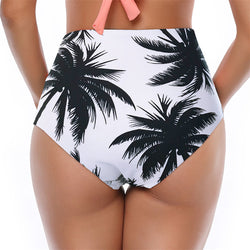 Palm Tree Printed Ruched High Waist Bikini Bottom